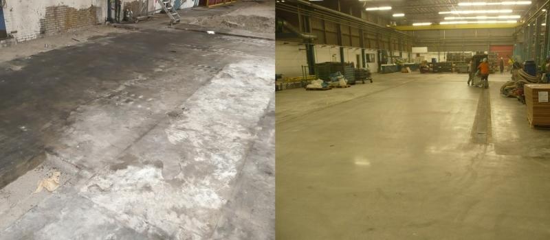Betonvloer reinigen, betonvloer schonschuren, betonvloer reinigen en diamantgereedschap, zware vervuiling van betonvloer verwijderen
